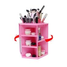360 Degree Rotating Makeup Storage Box Case Plastic Cosmetic Jewelry Organizer Folding Makeup Storage Holder Boxes 32cmx26.8cm