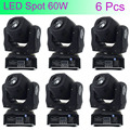 6 Pcs Mini Spot 60W LED Moving Head Light With Gobos High Brightness DMX512 DMX 9/11 Channels Professional Led Stage Light