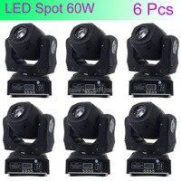 6 Pcs Mini Spot 60W LED Moving Head Light With Gobos High Brightness DMX512 DMX 9/11 Channels Professional Led Stage Light