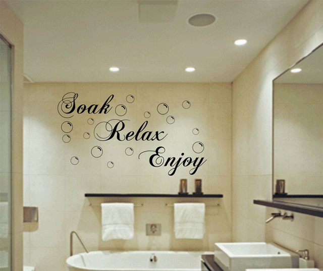 Soak Relax Enjoy Bath, Wall Art Sticker Home Decor Bathroom Bubbles Splish  Splash Bathroom Products
