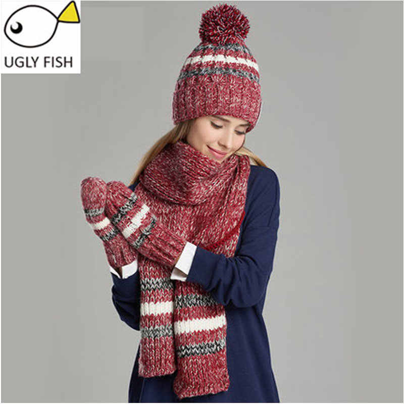 eb5a74e6ee1 woman winter hat and gloves sets cotton fashion women hat scarf gloves set  solid hat and