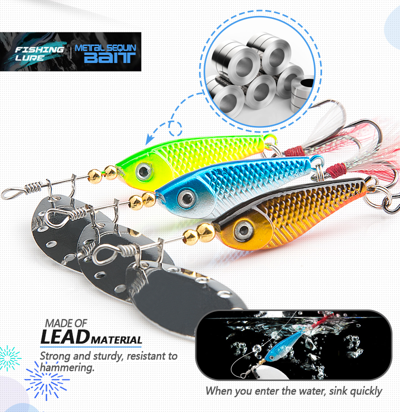 spinner Spoon Metal Bait Fishin Lure Sequins Crankbait Spoon baits for Bass Trout Perch pike rotating Fishing (7)