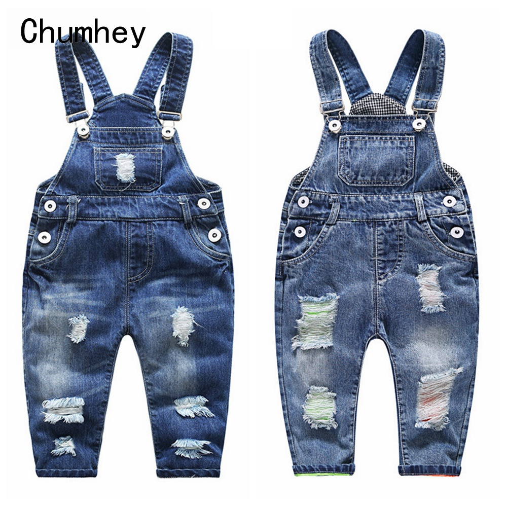 1-5T Kids Jeans <font><b>Baby</b></font> Rompers Spring Boys Girls Overalls Bebe Jumpsuit Pants Toddler Trousers Kids <font><b>Clothes</b></font> Children Clothing image