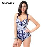 Faerdasi 2017 Plus Size Women Floral One Piece Swimsuit Deep V Neck Bathing Suit Sexy Beach