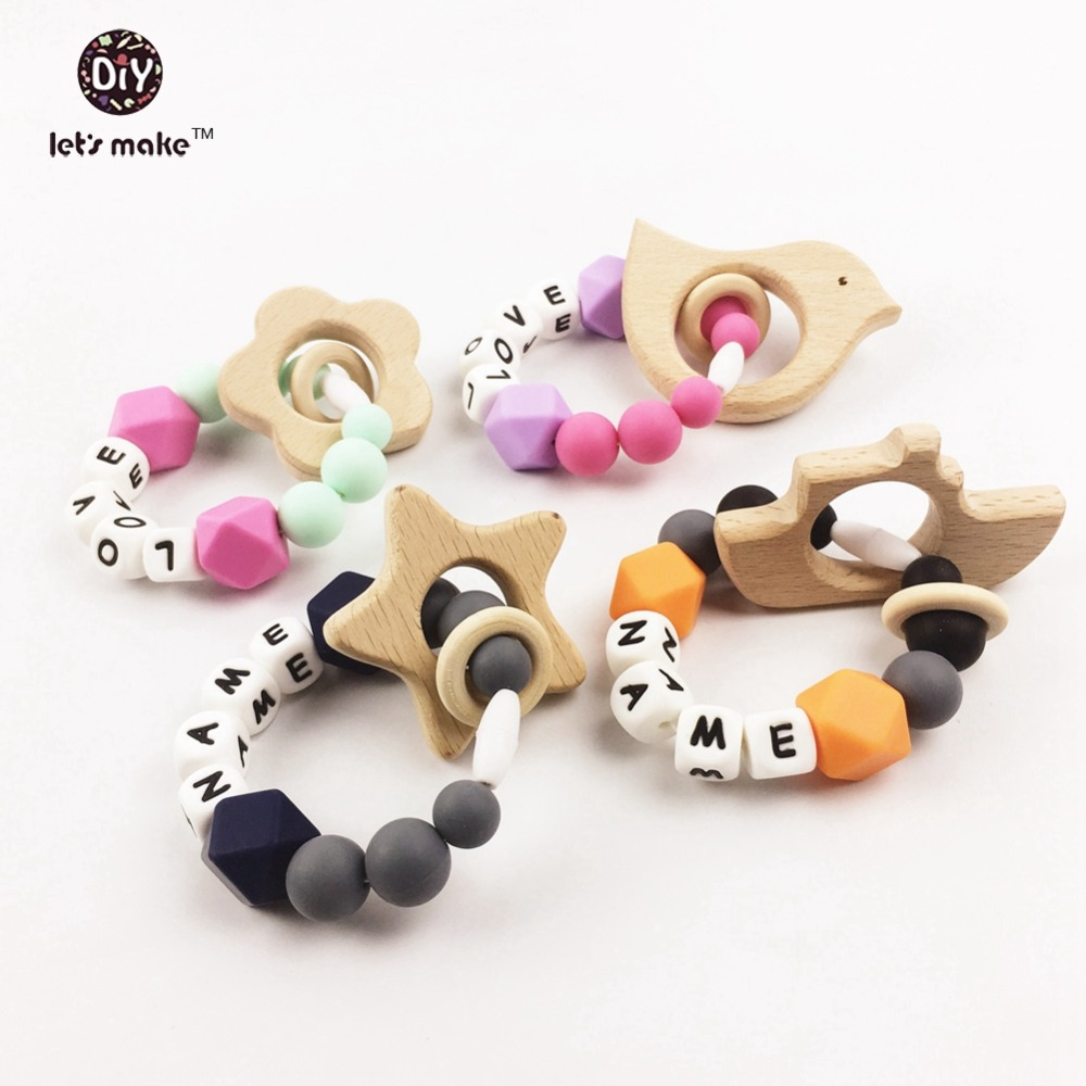 Let's Make 4pcs Letter Beads Silicone Pacifier Clip Silicone Teether Clip Baby Pacifer Clip Baby Toys Chew Toys  Baby Rattle