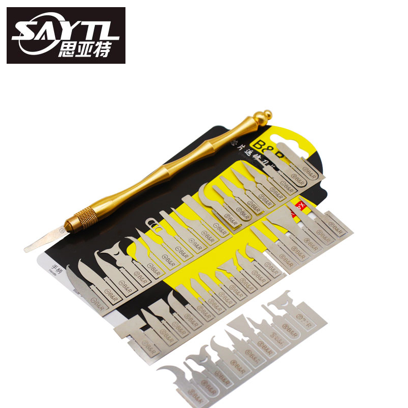 SAYTL 43in1 BGA Maintenance Knife For iPhone CPU NAND CHIP IC Remove Glue Disassemble Rework Blade
