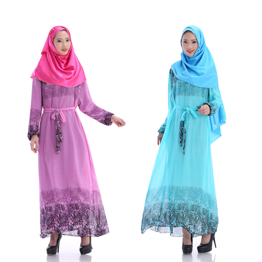 4The new Muslim long-sleeved dress Characteristics of Arab loose robes  Pure color sunlight hemp Sunday clothes