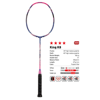 Kawasaki King K8 Badminton Racket Attack Type T Head Fullerene Carbon Fiber Racquet For Intermediate Players