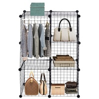 DIY 6 Cube Grid Wire Cube Shelves Storage Organizer Modern High Quality Office Home Wire Storage Cubes for Sundries HW56101