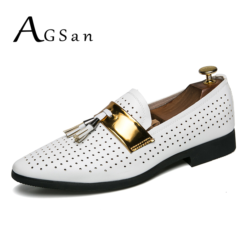 AGSan Luxury Brand Men loafers White Black Tassel Loafers Summer Breathable Dress Shoes Hollow Out Wedding Party Smoking Shoes thai tide brand cape style fairy layer tassel stitching slim dress hollow out mesh lace stitching fringed champagne dress white
