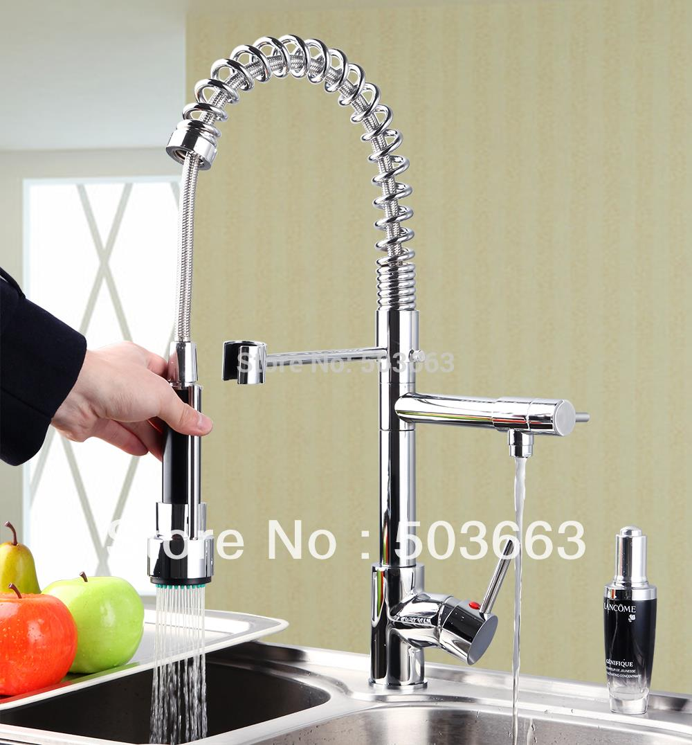 Free Wholesale Retail Chrome Brass Water Kitchen Faucet Swivel Spout Pull Out Vessel Sink Single Handle Mixer Tap MF-265 360 hot double handles free brass water kitchen faucet swivel spout pull out vessel sink ceramic mixer tap mf 284 faucet