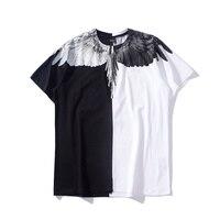 2018ss Marcelo Burlon Brand Women Men Black and White Sitiching Drip wing print t shirt hiphop Tee Tops t shirts Marcelo MB