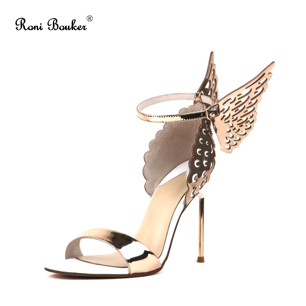 New Hot Sale Women Gold Shiny Wing Sandals Ladies Genuine Leather High Heels Party Wedding Shoes plus Size 42 Free Shipping