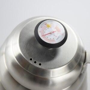 Image 2 - Капельный чайник V60 из нержавеющей стали 304 объемом 1200 мл с термометром, залейте в кастрюлю с длинным носиком гусиная шея, Кофеварка