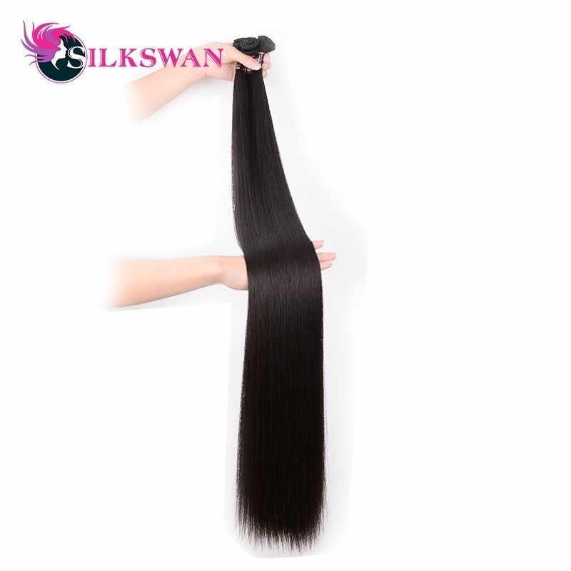 Silkswan ישר 10-30 Inch שיער טבעי הרחבות 100% רמי שיער 28 30 32 34 36 38 40 42 50 אינץ ברזילאי שיער Weave חבילות
