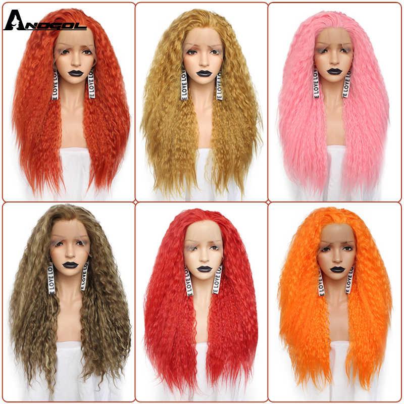 Аногол бесплатная часть высокотемпературное волокно длинные кудрявые красный розовый оранжевый желтый блонд смешанный синтетический парик кружева спереди для женщин Косплей