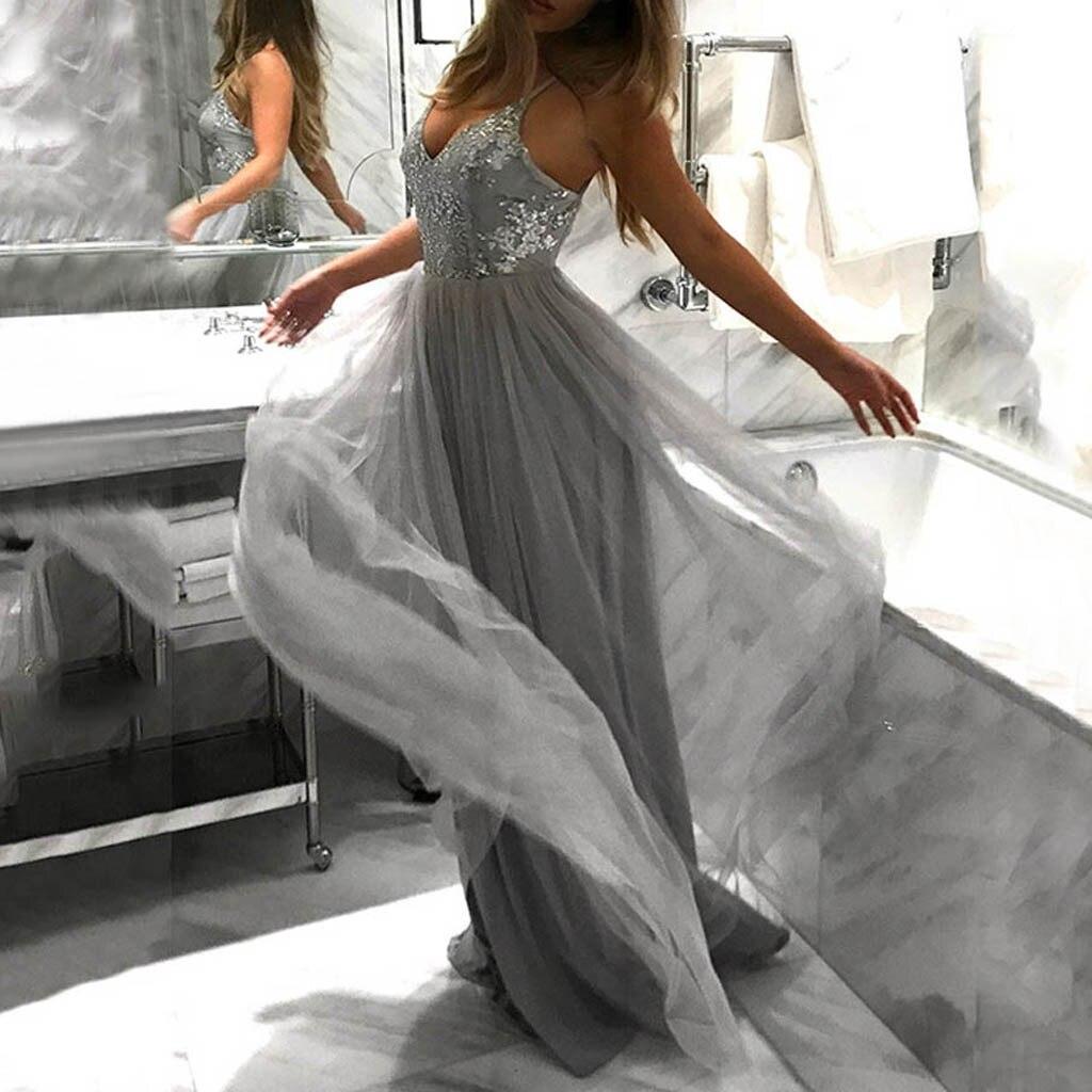 新しい女性のドレス 2018 セクシーな女性 V ネックマキシスパンコールスパゲッティストラップカクテルウエディングドレスドレス vestidos femininos