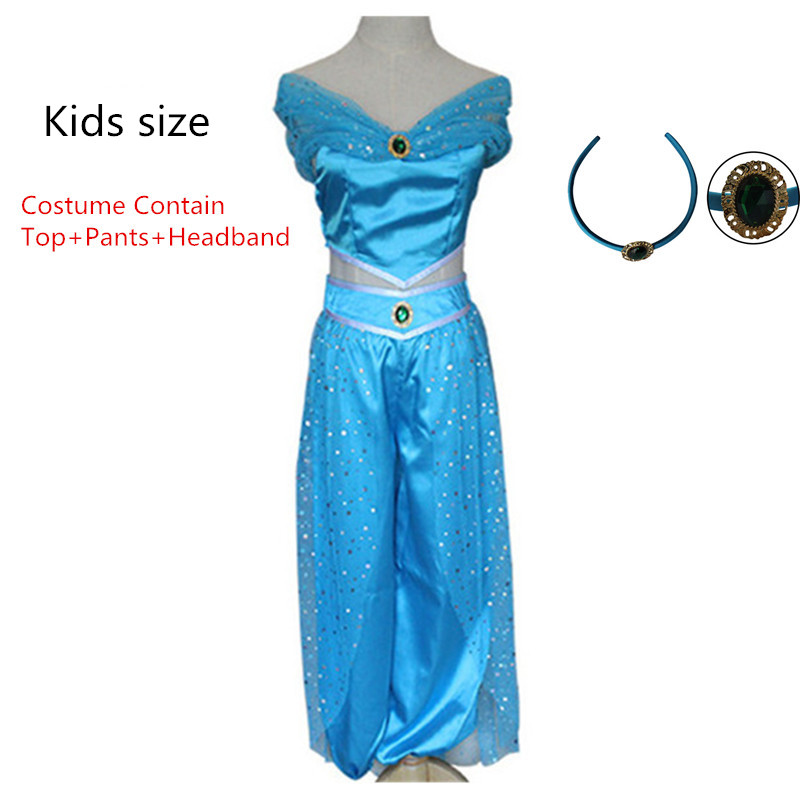 Jasmine Costume Aladdin and The Magic Lamp Aladdin Kids Costume Princess Off Shoulder Top Women Pants Suit Set Cosplay