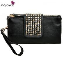 2017 Brand Design Women Clutch Handbags Purses Leather Wallets Rivet Zipper Bags Women Clutches Luxury Handbags