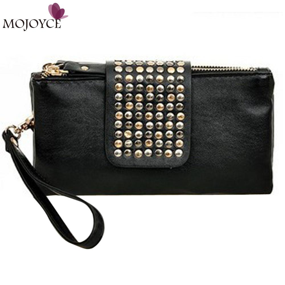 2018 Brand Design Women Clutch Handbags Purses Leather Wallets Rivet Zipper Bags Women Clutches Luxury Handbags Bolsa Feminina
