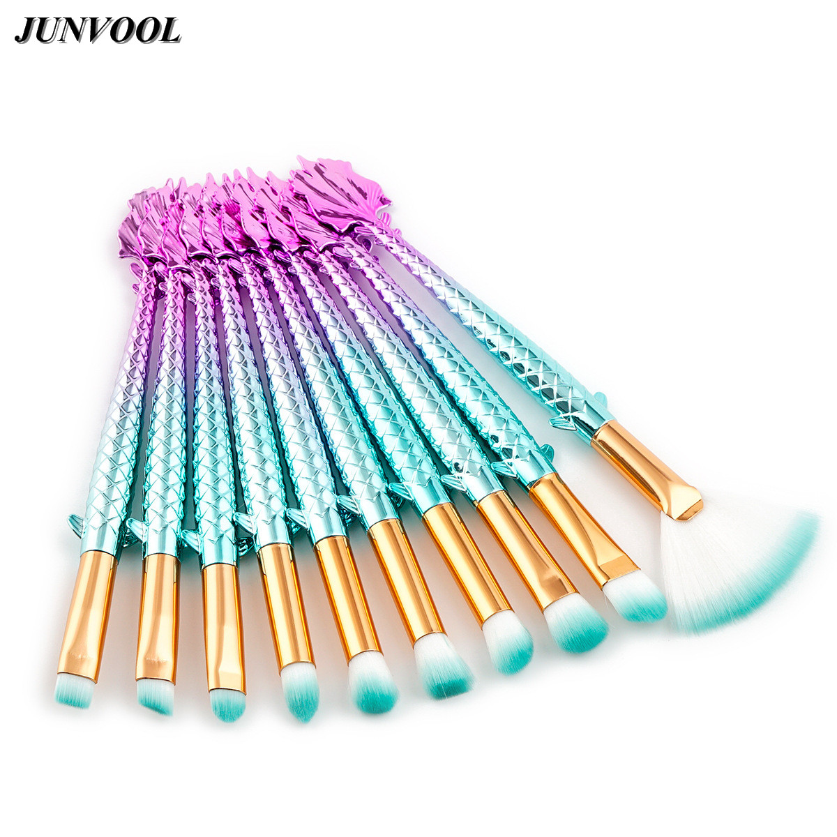 Professional Mermaid Eyes Makeup Brushes Foundation Eyebrow Eyeliner Blush Cosmetic Concealer Fish Tail Fan Make Up Brush Tools 2017 new mermaid makeup brushes foundation eyebrow eyeliner blush cosmetic concealer fish tail make up brushes brush tools lz06