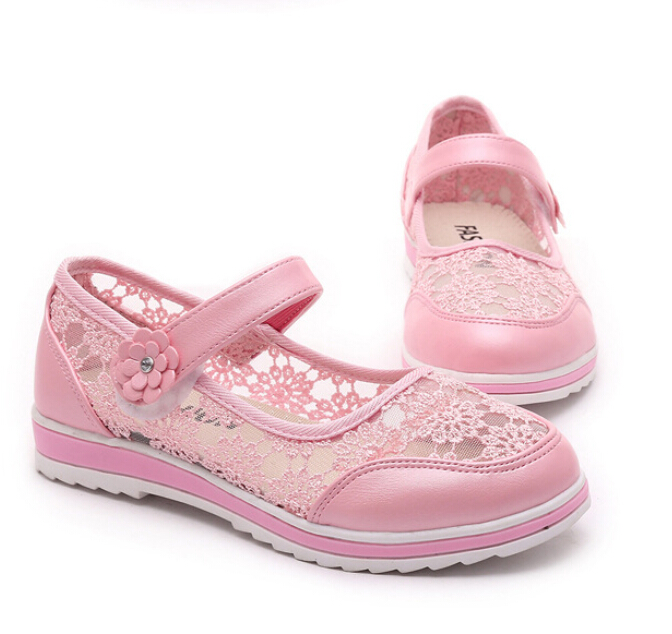 Hot sale kids shoes girls shoes beautiful lace embroidered princess single shoes girls breathable sandals kids shoes for girl