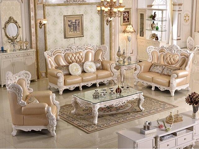 Antique classique bois de meubles salon canapé moderne en cuir ...