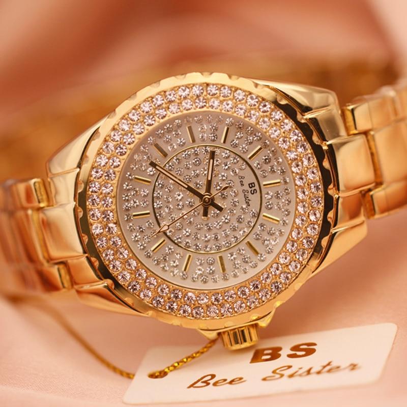 2019 Hot Sell Women Watches Luxury Quartz Lady Watch High Quality Rhinestone Female Wristwatch Casual Clock Relogio Feminino in Women 39 s Watches from Watches