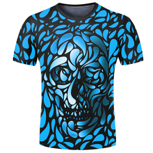 2018 Men 3D T-shirt Blue Skulls Print Cool Short Sleeve T-shirts Shirt Tops Hip Hop Leisure Streetwear Novelty Plus Size 5XL