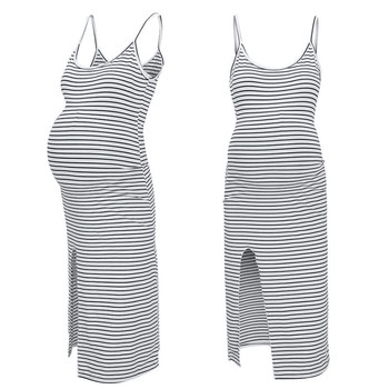 bd302fb383ef637 Платье для беременных; одежда для кормящих матерей; без рукавов; полосатый  принт; сарафан для грудного вскармливания; платье для беременных;.