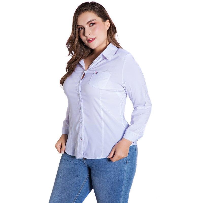 LALAIKAI Plus Size XL 2XL 3XL 4XL 5XL 6XL White Solid Blouse Women Full Sleeve Button Tops Slim Office Ladies Shirt SWA1540-47 4