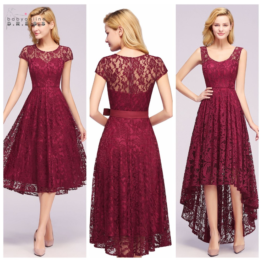 Plus Size Robe Cocktail 4 Styles Sleeves Burgundy Lace Cocktail Dresses 2019 Short Prom Dresses Party Gowns Formal Women Dress