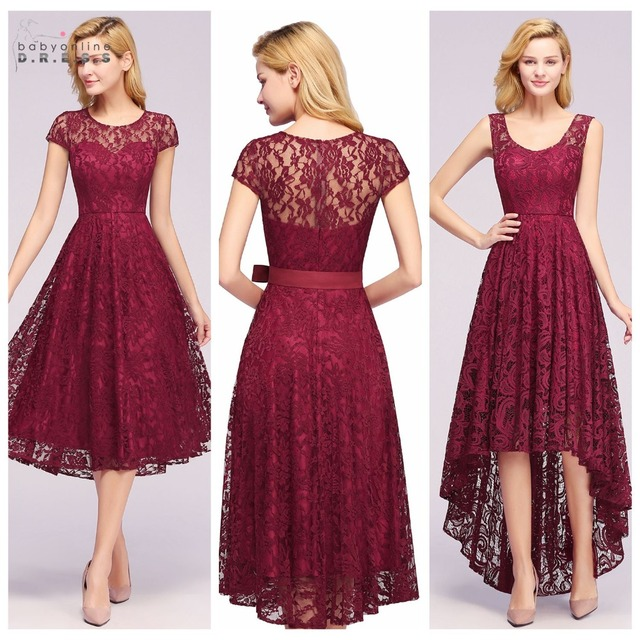 898b22865cc Plus Size Robe Cocktail 4 Styles Sleeves Burgundy Lace Cocktail Dresses  2019 Short Prom Dresses Party Gowns Formal Women Dress