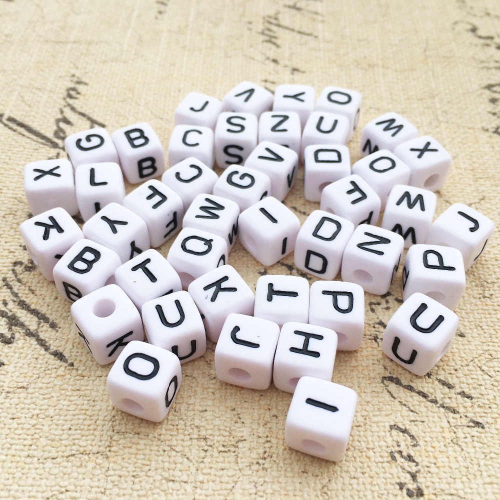 White Plastic Acrylic Alphabet Beads Round Cube Square Mixed Colour Letters