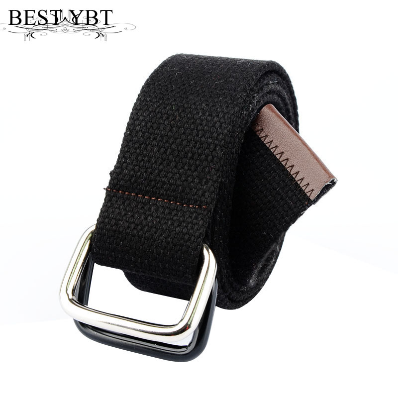 Best YBT Unisex Belt Canvas Iron Double Ring Buckle Women Belt Cowboys Outdoor Sports Fashion Personality High Quality Men Belt