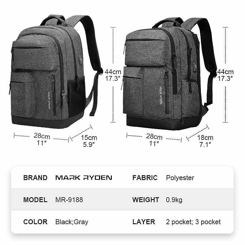 """Мужской дорожный рюкзак Mark Ryden, с множеством отделений и выходом USB для подзарядки, подходит для ноутбука 15,6 дюймов, система """"антивор"""", 2019"""
