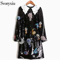 SVORYXIU 2017 Runway Designer Autumn Dress Women S Long Sleeves Colorful Diamonds Black Sequined High End