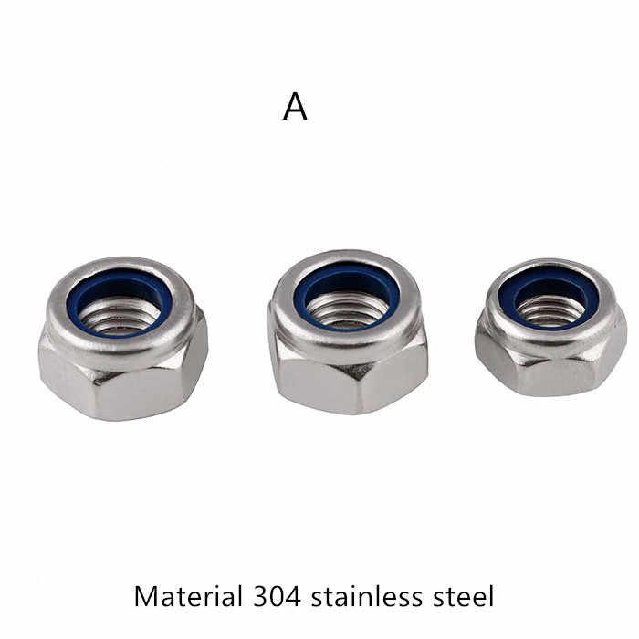 304 edelstahl mutter M2 M2.5 M3 M4 M5 M6 M8 M10 M12 DIN985 nylon lock mutter geschraubt beibehaltung ring