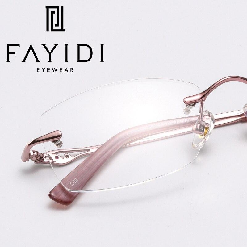 FAYIDI החדש ללא מסגרת אופנה מסגרת משקפיים רואי משקפיים נשים ללא מסגרת משקפיים קוצר ראיה מסגרת אור סופר עבור # F150