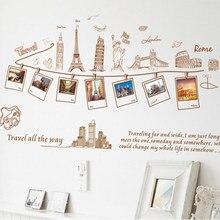 Creatieve Familie Fotolijst Wereld trip Muursticker Home Decor voor Woonkamer Slaapkamer decoratie Decals Poster DIY Stickers