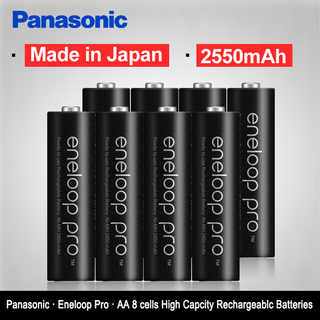 Panasonic Original Eneloop Batteries High Capacity 2550mAh 8pcs/2set Made In Japan NI MH Pre charged Rechargeable AA Battery