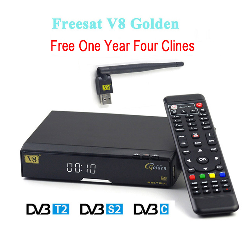 V8 Golden HD Satellite Receiver with 1 year Europe Clines USB Wifi DVB-T2+S2/C receptor Satellite support Powervu Patch Youtube