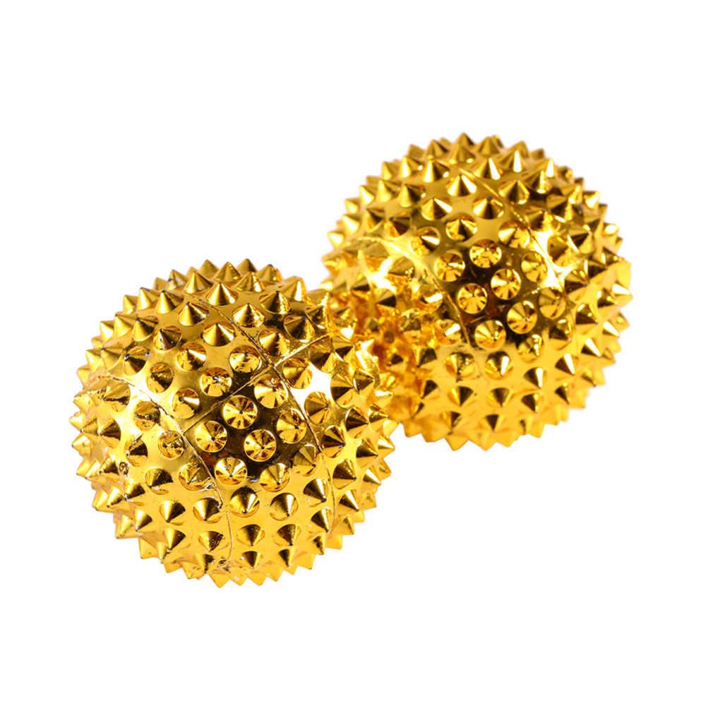 1 زوج الذهبي تدليك اليد كرات المغناطيسي اليد النخيل الوخز بالإبر الكرة إبرة تدليك الإغاثة تحفيز الرعاية الصحية أداة