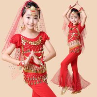2017 New Short Sleeved Belly Dance Costumes Girl Stage Performances Clothing Skirt Bellydance For Kids Oriental