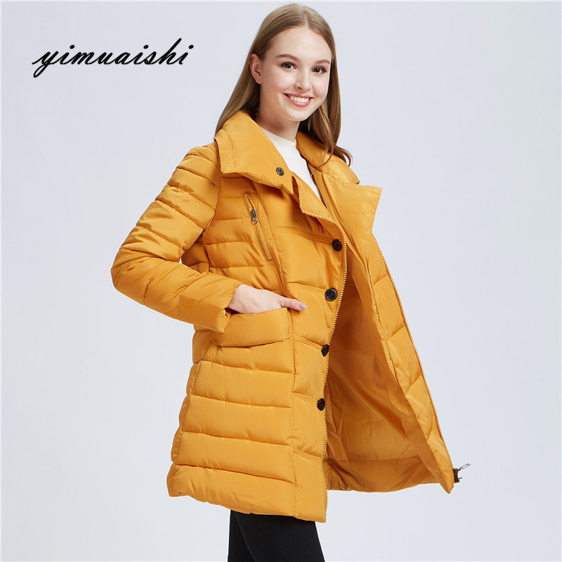 Dual-use collar winter jacket women Thin short parka Hood coats luxury outerwear Argyle jacket female over solid winter coats