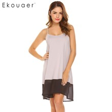 Ekouaer Women Summer Round Neck Sleeveless Nightgown Chemise Patchwork Night Dress Ladies Girls Sleepwear Nightdress Lingerie