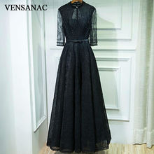 VENSANAC 2017 New A Line Beadings O Neck Long Evening Dresses Elegant Full Sleeve Embroidery Bowknot Sash Lace Party Prom Gowns