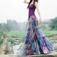 2017 Summer Boho Skirts Womens High Waist Purple Floral Printed Pleated Chiffon Long Skirt Elegant Vintage