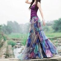 2017 Summer Boho Skirts Womens High Waist Purple Floral Printed Pleated Chiffon Long Skirt Elegant Vintage