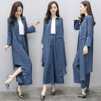 Korean Fashion Irregular Long Top Shirt and Wide Leg Pants Women Denim Two Piece Outfits Loose Blue Jeans Pants Suit